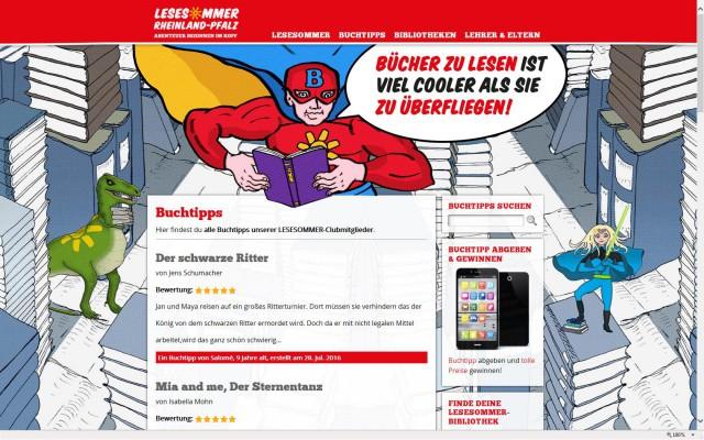 Lesesommer-Internetseite mit Online-Buchtipps 2016